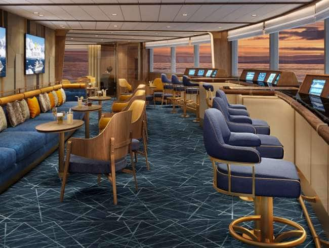 Seabourn Venture: View of the Bow lounge on a small ship cruise