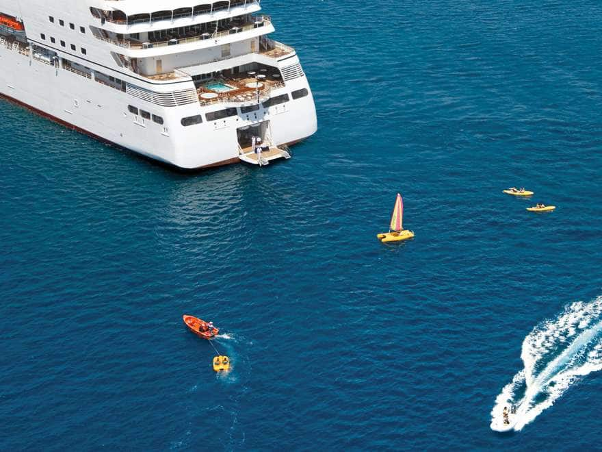 Seabourn Quest in Elba - Italy Marina open with water activities