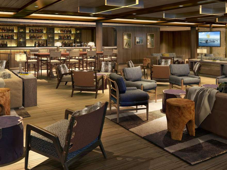 View of the Seabourn Venture Expedition Lounge on a small ship cruise