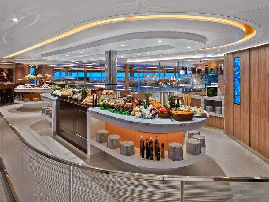 A view of The Colonnade dinning on a small ship cruise