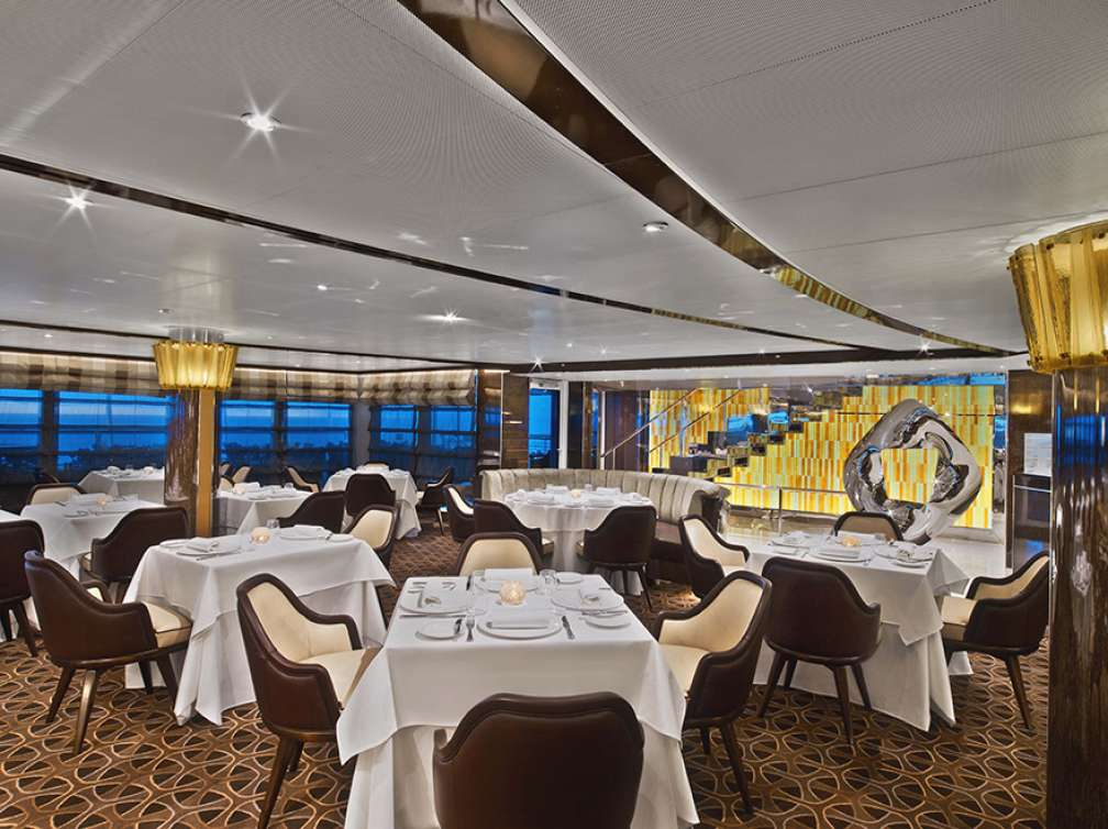 A view of the dining area in The Grill by Tomas Keller on a small ship cruise
