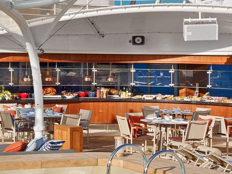 A view of the Patio dining area on a small ship cruise