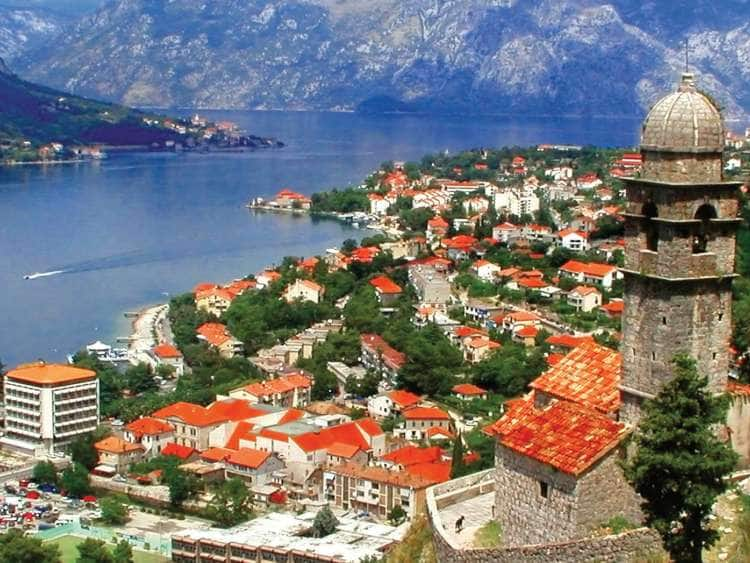 Aerial view of Kotor, Montenegro seen on one of many luxury cruises to the Adriatic Sea and the Mediterranean.