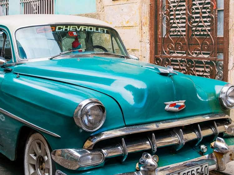 Classic Car in the Old Town of Havana, Cuba
