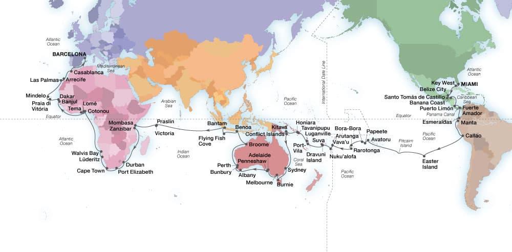 World Cruise: Extraordinary Horizons voyage map