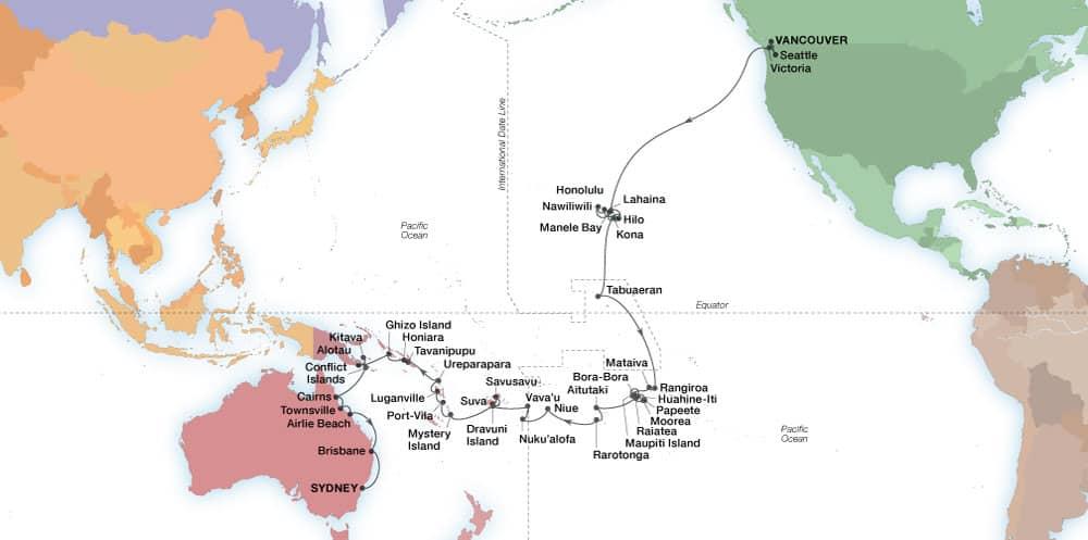 Grand Voyage Pazifik– Karte der Reiseroute