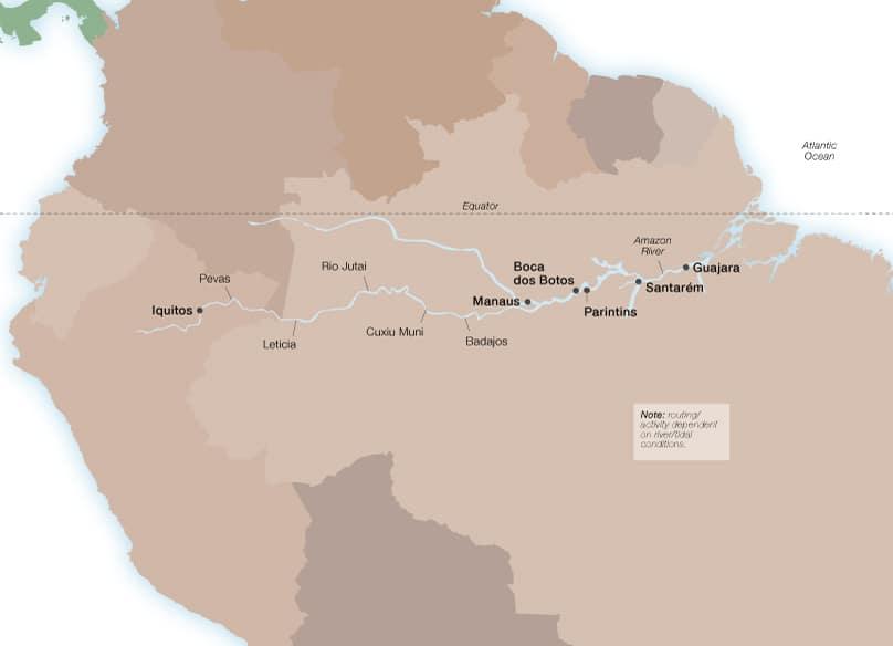 Amazonas-Hafenkarte von Seabourn