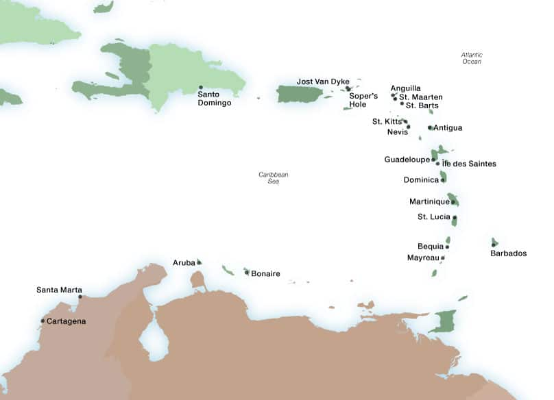 Seabourn's Caribbean ports map