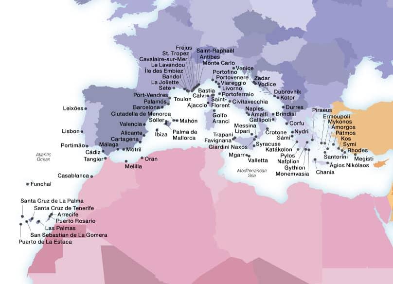 Seabourn's Mediterranean ports map