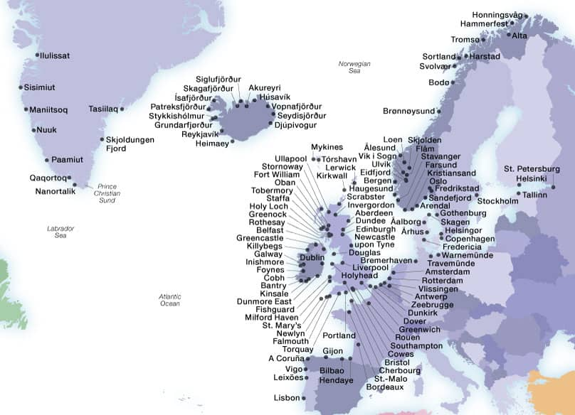 Seabourn's Northern Europeports map