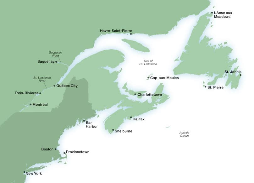 Map Of New England And Canada Canada & New England Luxury Cruises | Seabourn