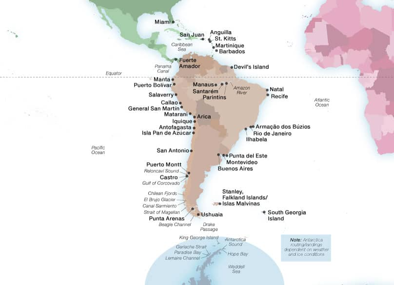 Seabourn's South America & Antarctica ports map
