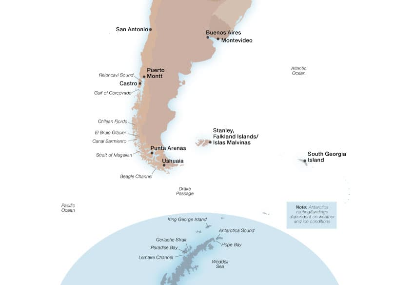 Seabourn's Antarctica & Patagonia ports map