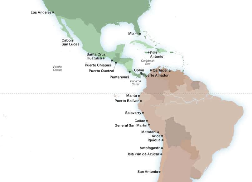 Seabourn's Panama Canal ports map