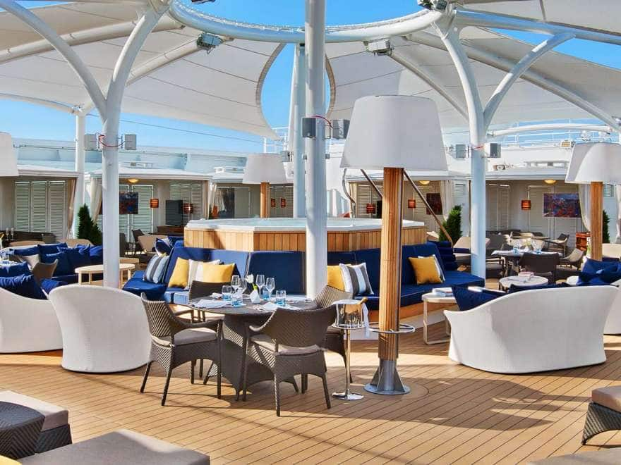 A view of The Retreat private cabanas on a small ship cruise
