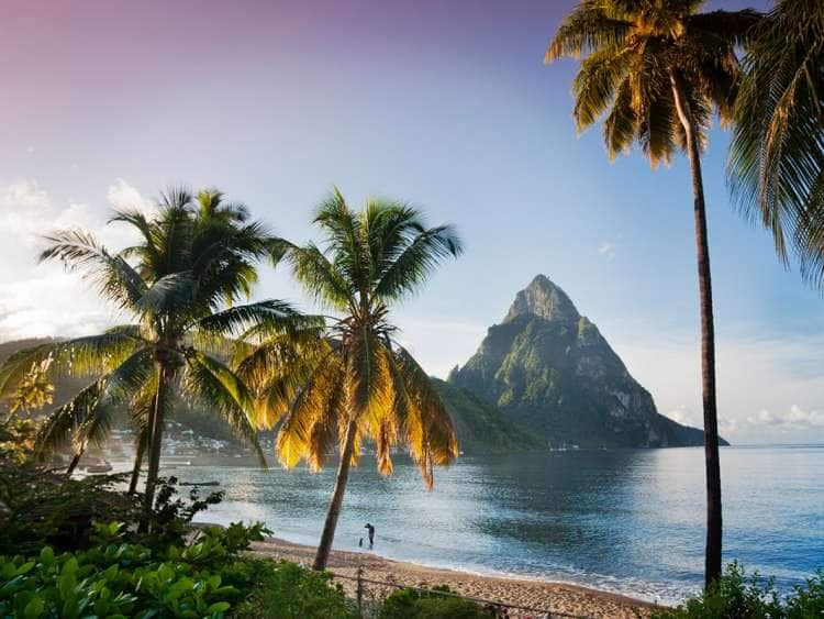 Saint Lucia, Soufriere, The Pitons at dawn