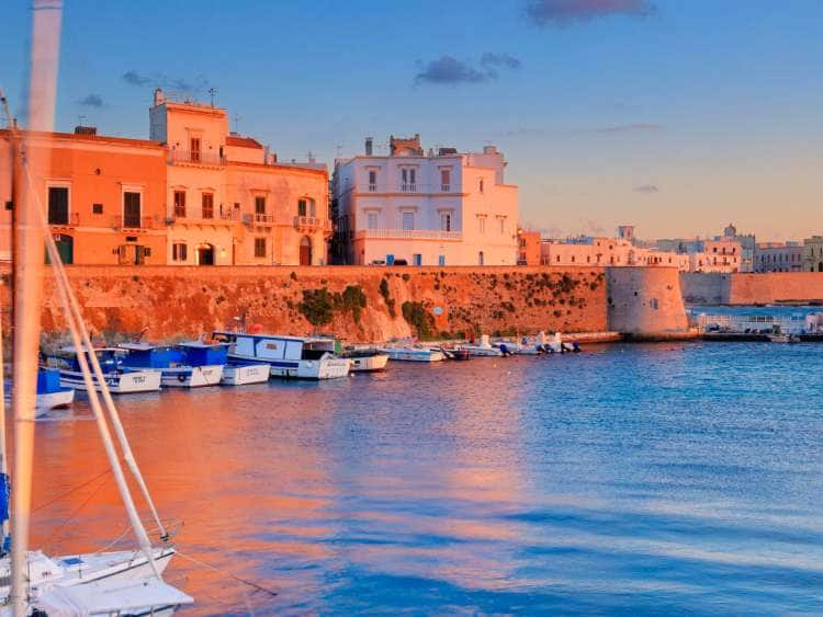 Italy, Apulia, Lecce district, Mediterranean sea, Salento, Gallipoli, View along Riviera Sauro in the walled old town