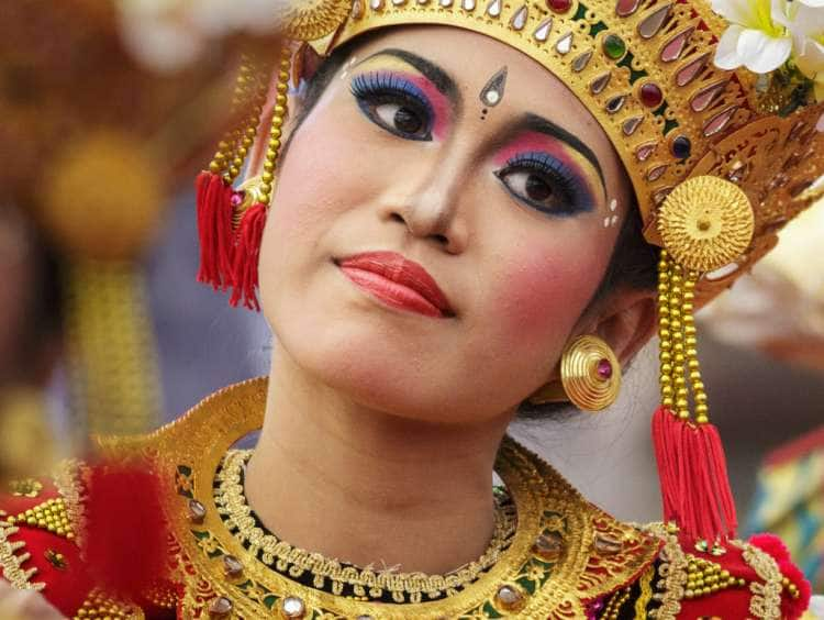 Indonesia, Bali, Denpasar, Legong dancers at the Bali Arts Festival