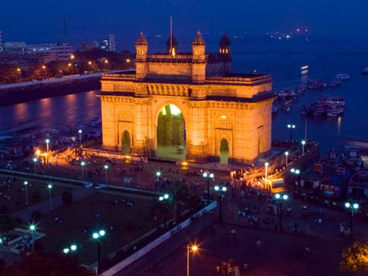 India, Mumbai, Bombay, Gateway of India Evening from Taj Mahal Hotel Balcony.