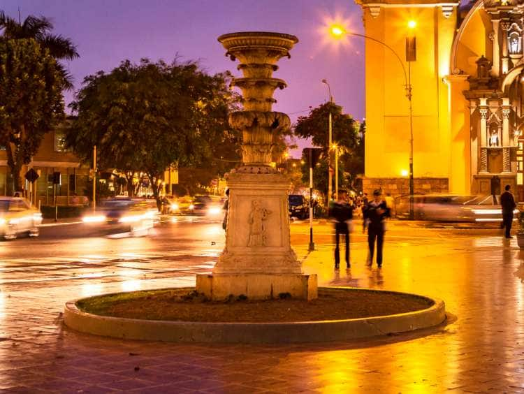 Dusk view of Plaza de Armas Barranco in Lima, Peru seen on a Seabourn luxury South America cruise Excursion