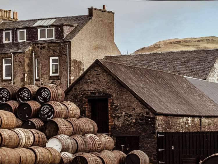 UK, Scotland, Argyll, Campbeltown, whisky barrels outside the Springbank whisky distillery