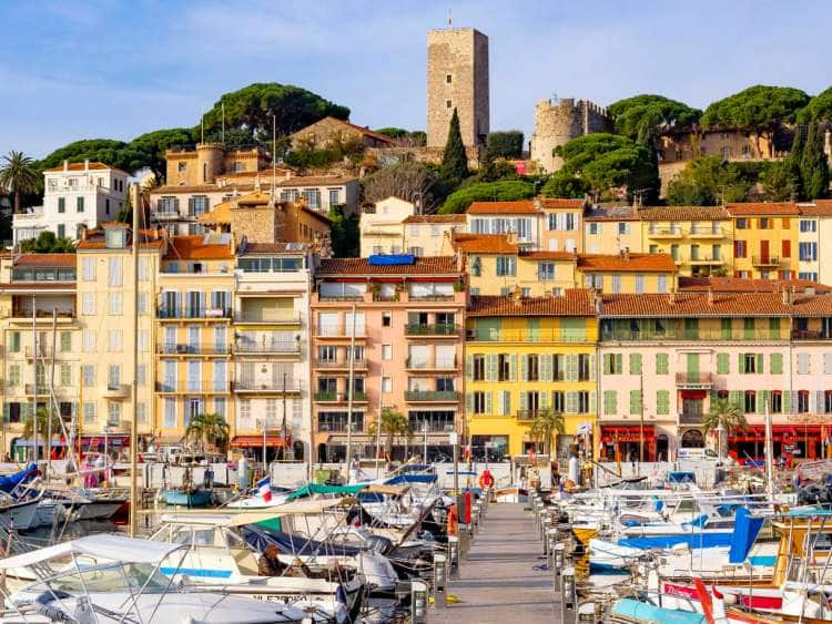 France, Provence-Alpes-Cote d'Azur, Alpes-Maritimes, Cannes, Old Harbor Vieux Port and Old Town Le Suquet