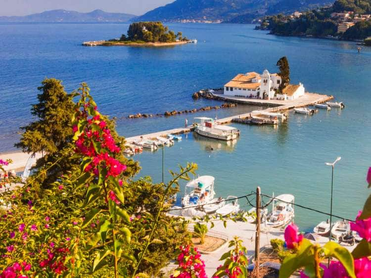 Greece, Ionian Islands, Corfu Island, Pontikonissi island, Mouse Island, Mediterranean sea, Ionian sea, Greek Islands, Kanoni, Vlacherna Monastery