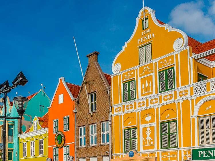 Curacao, Willemstad, waterfront buildings.