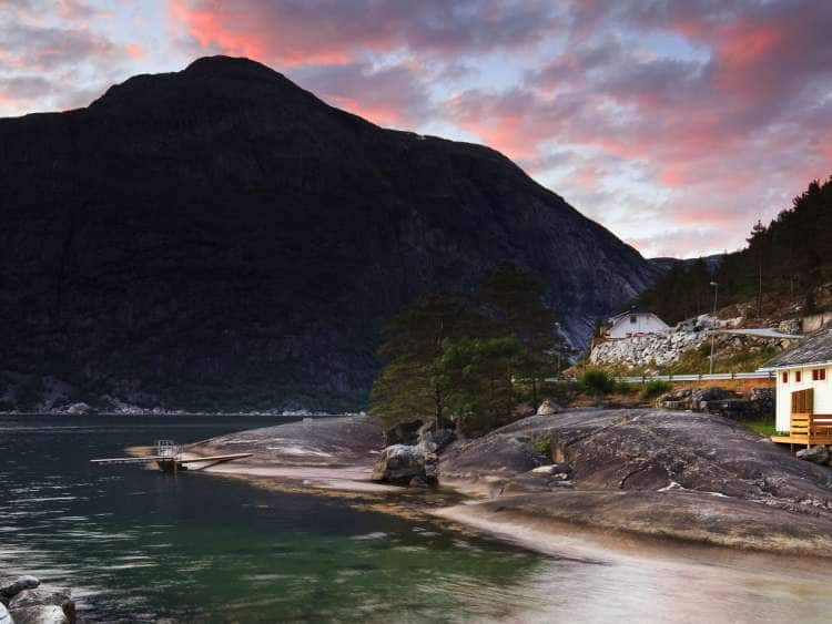 Norway, Hordaland, Eidfjord, Scandinavia, Sunset over the famous fjord
