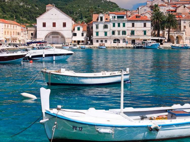 Harbor in the Old Town of Hvar, Hvar Island, Dalmatia, Croatia