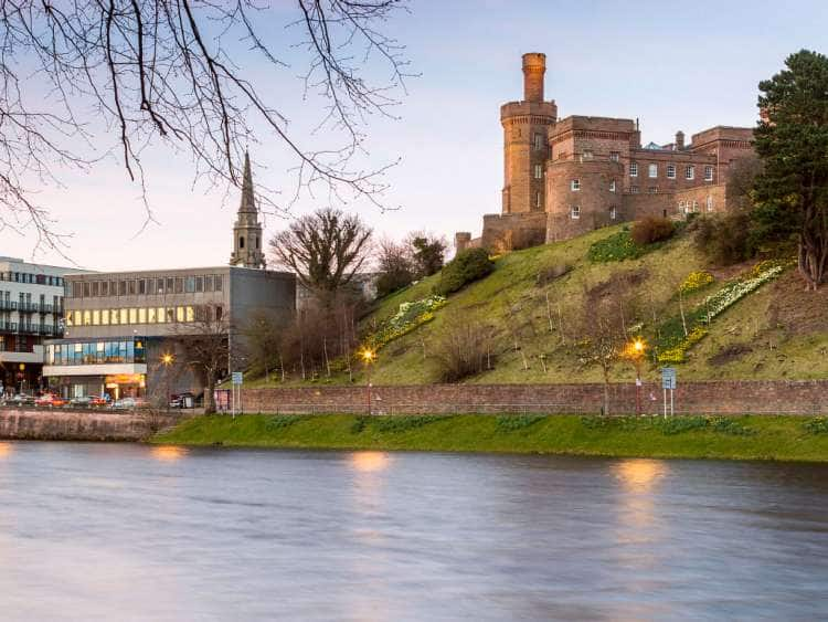 UK, Scotland, Great Britain, Highlands, Inverness, Inverness Castle and River Ness