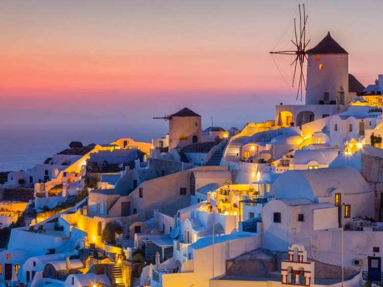 Greece, Aegean islands, Cyclades, Mediterranean sea, Aegean sea, Greek Islands, Santorini island, Thera, Sunset at the village of Oia