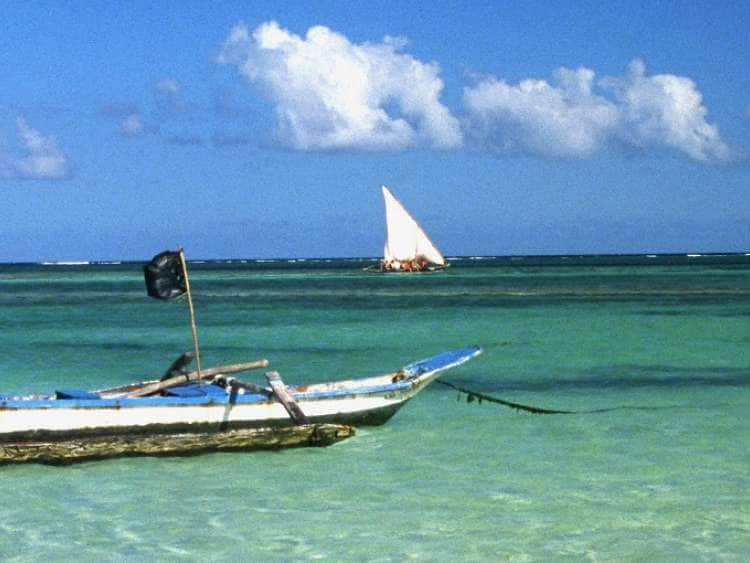 Kenya, Diani beach near Mombasa, typical boat.