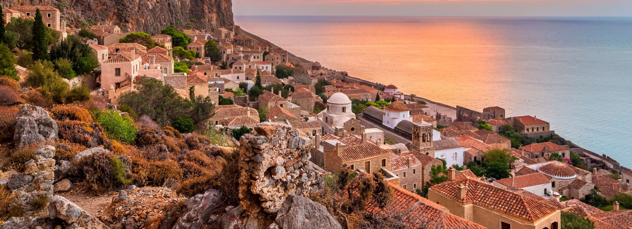 Red Sky in the Morning above the Old Town of Monemvasia, Laconia, Peloponnese, Greece