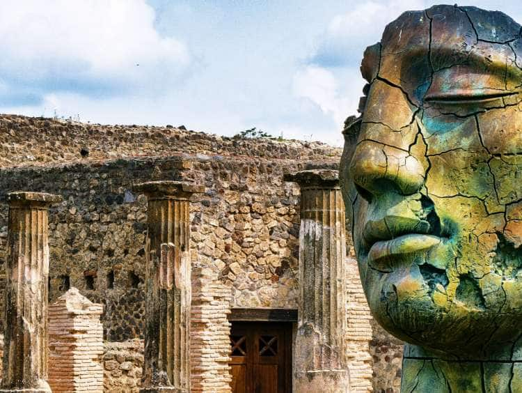 Sculpture by Igor Mitoraj at the Grand Theatre in the Ancient City of Pompeii, Naples, Campania, Italy