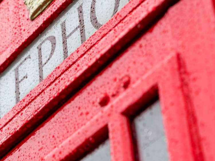 UK, England, London, Great Britain, City, Westminster, Covent Garden, Telephone Box, rainy day