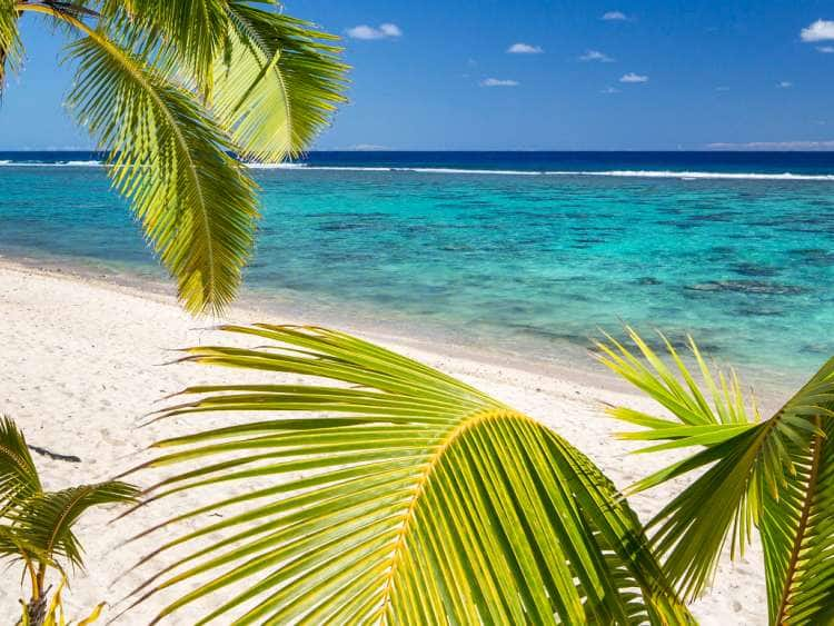 Cook Islands, Rarotonga, South Seas, Palm-lined Beach at the Crown Beach Resort near Arorangi