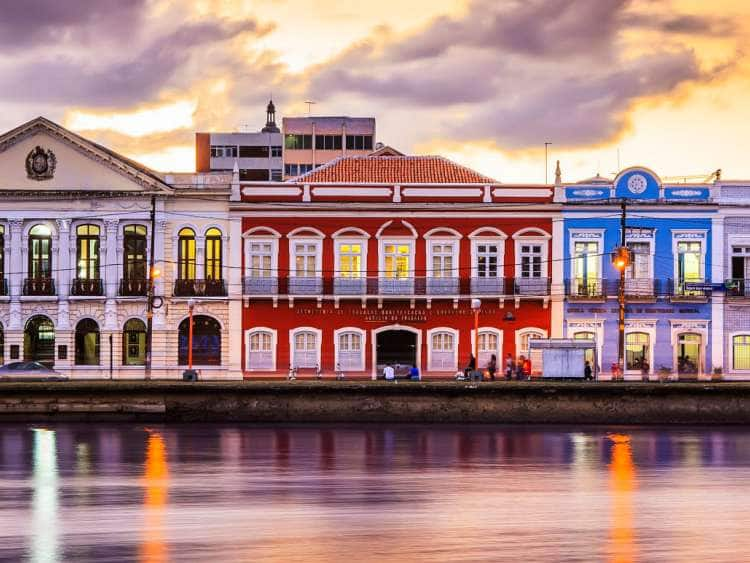 Brazil, Pernambuco, Recife, Historic Buildings at Recife Downtown and Capibaribe River