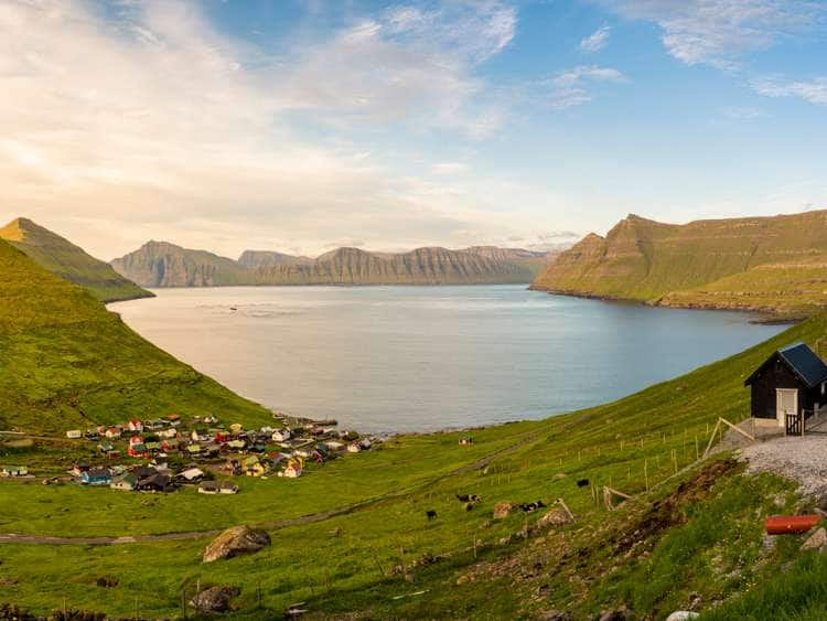 Denmark, Faeroe Islands, Eysturoy, Scandinavia, Funningur, Funningur, Panoramic view of the fiord