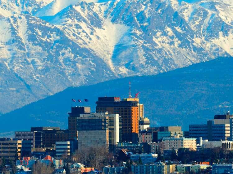 Skyline of the city of Anchorage with Chugach Mountains in the back, Alaska, USA