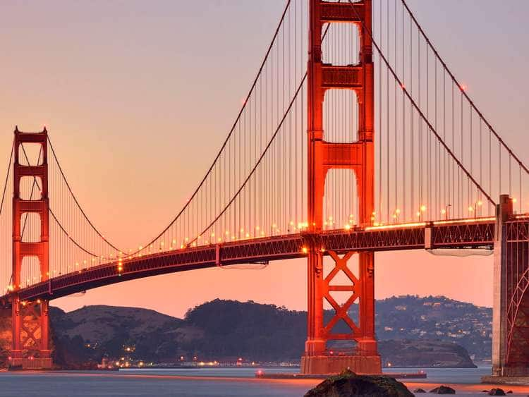 San Francisco Bay and Golden Gate Bridge, San Francisco, California, USA