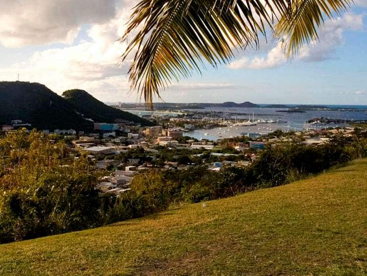Saint Martin Island, St. Maarten, Dutch-Netherlands Antilles, Cole Bay, viewed from Cole Bay Hill.