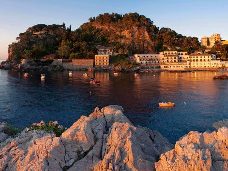 Italy, Sicily, Messina district, Mediterranean sea, Taormina, Mazzaro bay