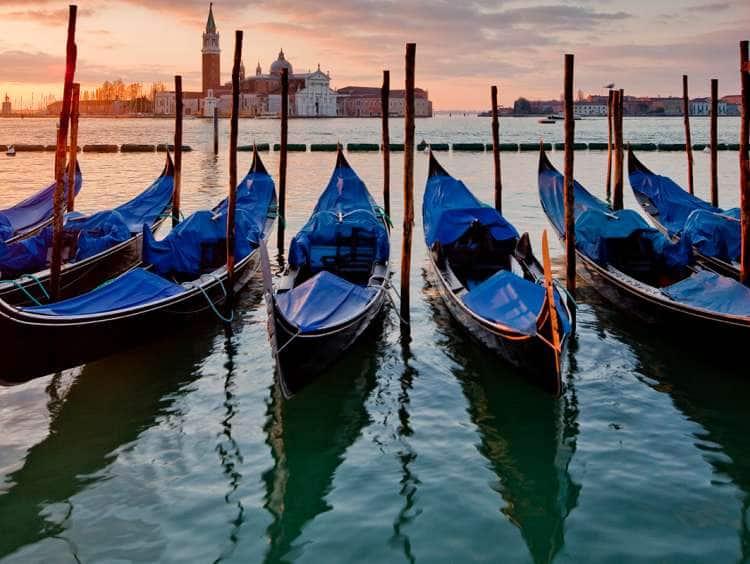 Italy, Veneto, Venezia district, Venetian Lagoon, Adriatic Coast, Venice, St Mark's basin, Gondolas and San Giorgio church in background