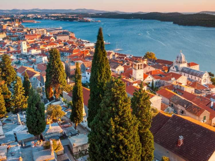 Croatia, Dalmatia, Sibenik, View across the Old Town with Cathedral of Saint Jacob in Sibenik