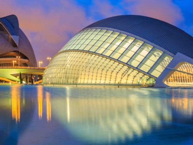 Spain, Valencia, City of the Arts and Sciences, City of the Arts and Sciences at sunset