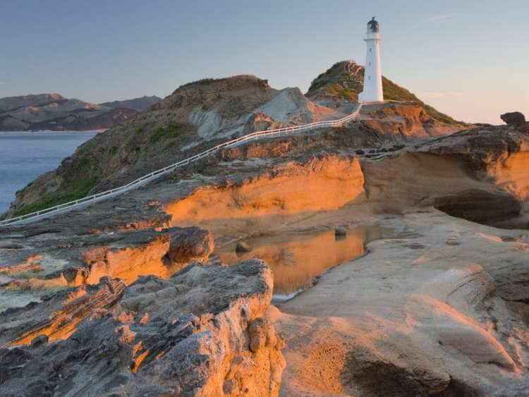 Castle Point Lighthouse in the Evening Light, Wellington, North Island, New Zealand