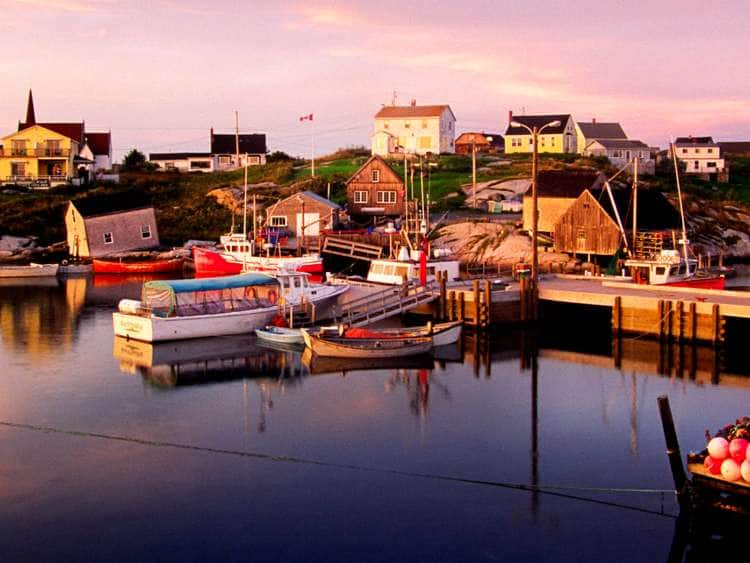 Canada, Nova Scotia, St. Margaret's Bay, Peggy's Cove, fishing boats.