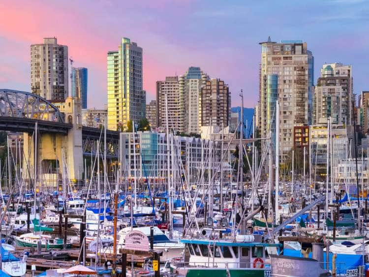 Canada, British Columbia, Vancouver, Fisherman's Wharf, Burrard Street Bridge