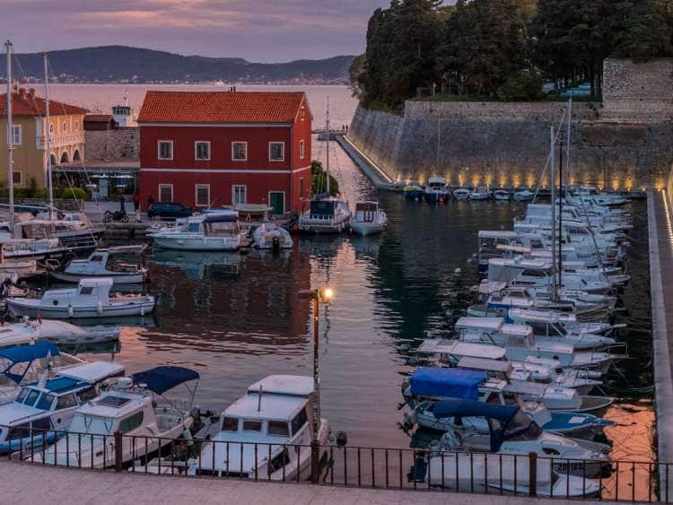 Croatia, Dalmatia, Zadar, Adriatic sea, Fosa harbour at sunset